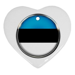 Estonia Country Flag Countries Heart Ornament (two Sides) by Nexatart