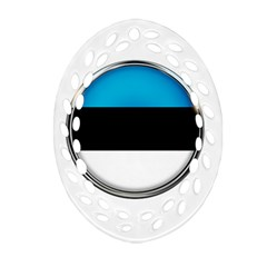 Estonia Country Flag Countries Oval Filigree Ornament (two Sides)