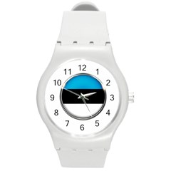 Estonia Country Flag Countries Round Plastic Sport Watch (m)