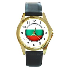 Bulgaria Country Nation Nationality Round Gold Metal Watch