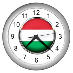 Hungary Flag Country Countries Wall Clocks (silver)