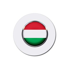 Hungary Flag Country Countries Rubber Round Coaster (4 Pack)