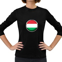 Hungary Flag Country Countries Women s Long Sleeve Dark T Shirts