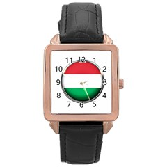 Hungary Flag Country Countries Rose Gold Leather Watch