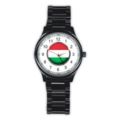 Hungary Flag Country Countries Stainless Steel Round Watch
