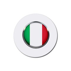 Italy Country Nation Flag Rubber Round Coaster (4 Pack)