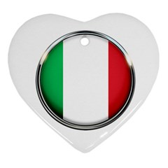 Italy Country Nation Flag Heart Ornament (two Sides)
