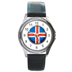 Iceland Flag Europe National Round Metal Watch by Nexatart