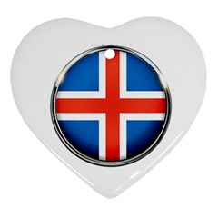 Iceland Flag Europe National Ornament (heart)