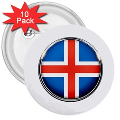 Iceland Flag Europe National 3  Buttons (10 Pack)