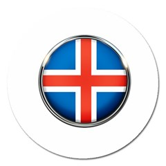 Iceland Flag Europe National Magnet 5  (round)