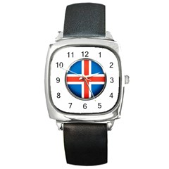 Iceland Flag Europe National Square Metal Watch