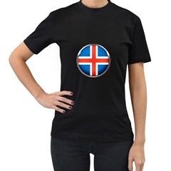 Iceland Flag Europe National Women s T Shirt (black) (two Sided)