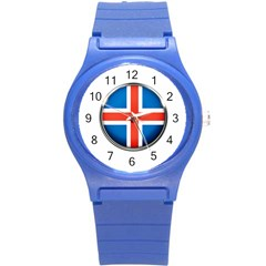 Iceland Flag Europe National Round Plastic Sport Watch (s)