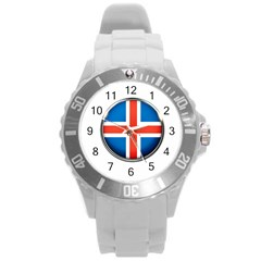 Iceland Flag Europe National Round Plastic Sport Watch (l)