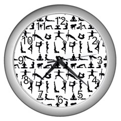 Yoga Pattern Wall Clocks (silver)  by Valentinaart