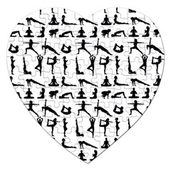 Yoga Pattern Jigsaw Puzzle (heart) by Valentinaart