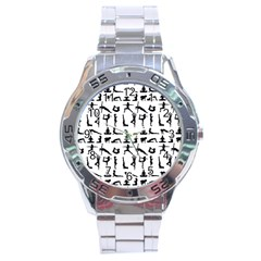 Yoga Pattern Stainless Steel Analogue Watch by Valentinaart