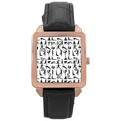 Yoga Pattern Rose Gold Leather Watch  by Valentinaart