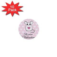 Cute Mouse   Valentines Day 1  Mini Buttons (10 Pack)  by Valentinaart