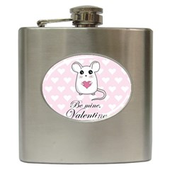 Cute Mouse   Valentines Day Hip Flask (6 Oz) by Valentinaart