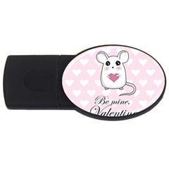 Cute Mouse   Valentines Day Usb Flash Drive Oval (4 Gb) by Valentinaart