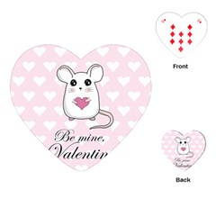 Cute Mouse   Valentines Day Playing Cards (heart)  by Valentinaart