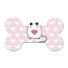 Cute Mouse   Valentines Day Dog Tag Bone (two Sides) by Valentinaart