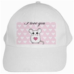 Cute Mouse   Valentines Day White Cap by Valentinaart