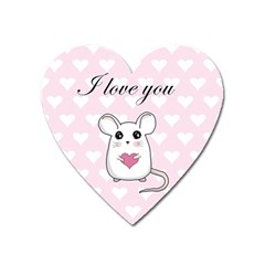 Cute Mouse   Valentines Day Heart Magnet by Valentinaart