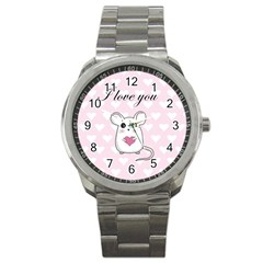 Cute Mouse   Valentines Day Sport Metal Watch by Valentinaart