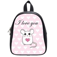 Cute Mouse   Valentines Day School Bag (small) by Valentinaart