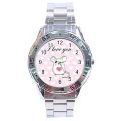 Cute Mouse   Valentines Day Stainless Steel Analogue Watch by Valentinaart