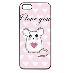 Cute Mouse   Valentines Day Apple Iphone 5 Seamless Case (black) by Valentinaart