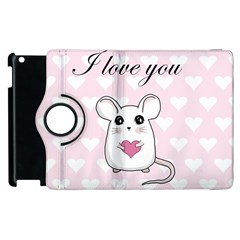 Cute Mouse   Valentines Day Apple Ipad 3/4 Flip 360 Case by Valentinaart