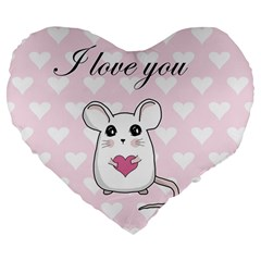 Cute Mouse   Valentines Day Large 19  Premium Flano Heart Shape Cushions by Valentinaart