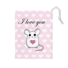 Cute Mouse   Valentines Day Drawstring Pouches (large)  by Valentinaart