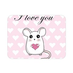 Cute Mouse   Valentines Day Double Sided Flano Blanket (mini)  by Valentinaart