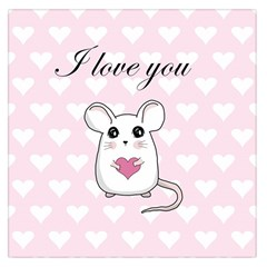 Cute Mouse   Valentines Day Large Satin Scarf (square) by Valentinaart