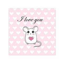 Cute Mouse   Valentines Day Small Satin Scarf (square) by Valentinaart