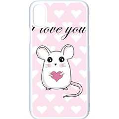 Cute Mouse   Valentines Day Apple Iphone X Seamless Case (white) by Valentinaart