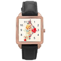 Cupid   Vintage Rose Gold Leather Watch  by Valentinaart