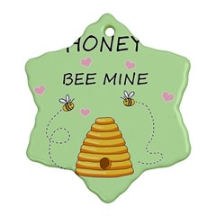 Bee Mine Valentines Day Ornament (snowflake) by Valentinaart
