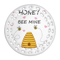 Bee Mine Valentines Day Round Filigree Ornament (two Sides) by Valentinaart