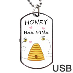 Bee Mine Valentines Day Dog Tag Usb Flash (one Side) by Valentinaart