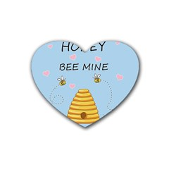 Bee Mine Valentines Day Rubber Coaster (heart)  by Valentinaart