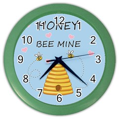 Bee Mine Valentines Day Color Wall Clocks by Valentinaart