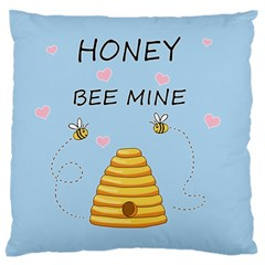 Bee Mine Valentines Day Large Flano Cushion Case (two Sides) by Valentinaart