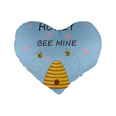 Bee Mine Valentines Day Standard 16  Premium Flano Heart Shape Cushions by Valentinaart