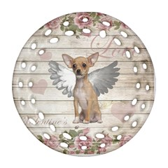 Vintage Chihuahua   Valentines Day Ornament (round Filigree) by Valentinaart